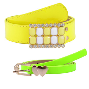 """"""" Yellow And Floroscent Green Color"""" Belt Combo For Womens"""