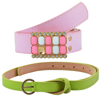 """ Pink And Green Color"" Belt Combo For Womens"