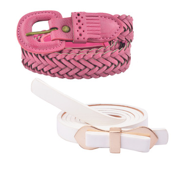 """ Pink And White Color"" Belt Combo For Womens"