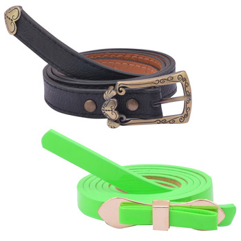 """ Green And Black Color"" Belt Combo For Womens"