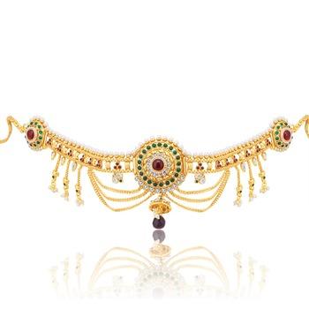 eca1810cdce6f Resplendent 3 string gold plated kamarband for women