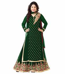 Buy Green  Embroidered Gerogette Straight Semi-stitched Plazzo Suit semi-stitched-salwar-suit online