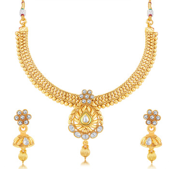 39d46d389 Fancy Gold Plated Choker Necklace Set For Women - Sukkhi Online Private  Limited - 1693253