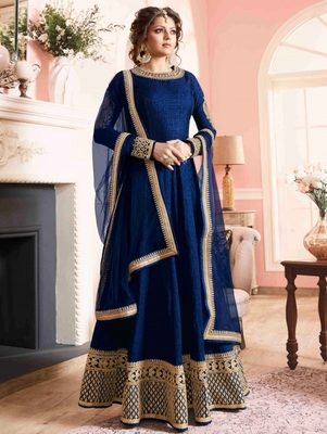 Blue banglory silk embroidered semi stitched long anarkali suit (Premium quality)