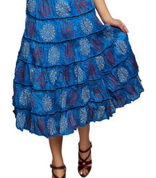 Buy Blue cotton printed skirts cotton-skirt online