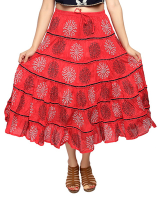Coral cotton printed skirts