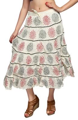 Cream cotton printed skirts