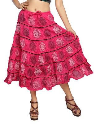Light pink cotton printed skirts