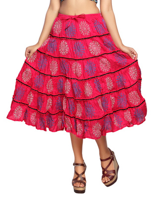Pink cotton printed skirts