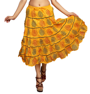 Yellow cotton printed skirts