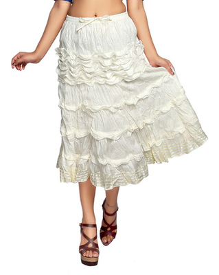 Off white cotton plain skirts