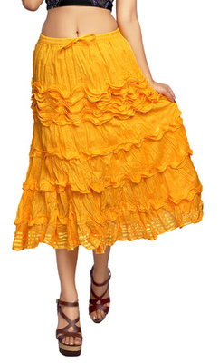 Yellow cotton plain skirts