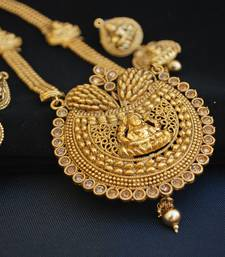 Buy Beautiful Long Gold Plated Temple Jewellery with Goddess Laxmi  necklace-set online