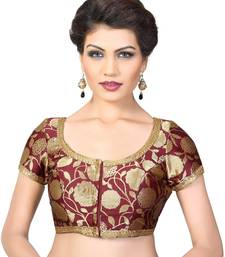Maroon embroidred Brocade readymade-blouse