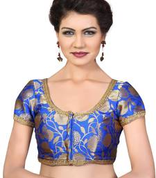 Royal Blue embroidred Brocade readymade-blouse