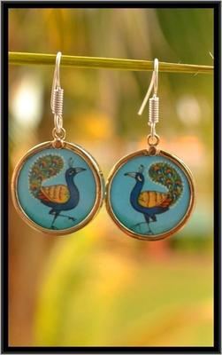 Handpainted Beautiful Peacock Dangler Earrings
