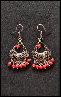Oxidized Royal Silver Detailed Carved Dangler Earrings