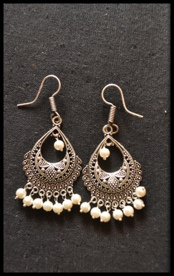 Oxidized Royal Silver Detailed Carved Dangler Earrings