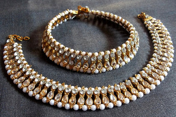 Double line kundan anklet