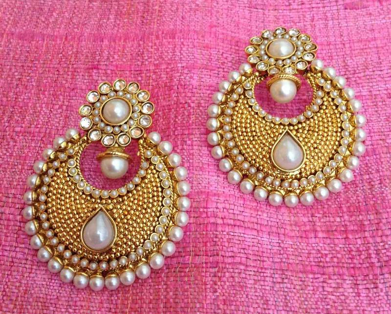 Buy Pearl polki flower ethnic Indian Pakistani bollywood jewelry