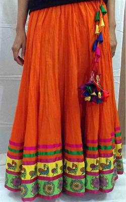 Tangy orange cotton flared long skirt