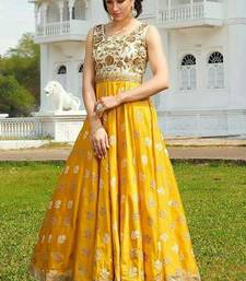 Buy Yellow Benglori semi stitiched salwar with dupatta semi-stitched-salwar-suit online