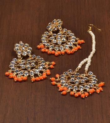 Orange pearl danglers-drops