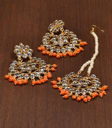 Buy Orange pearl danglers-drops jewellery-combo online