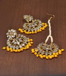 Buy Yellow pearl danglers-drops jewellery-combo online