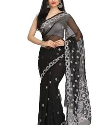 Buy Black embroidered georgette saree with blouse chikankari-sari online