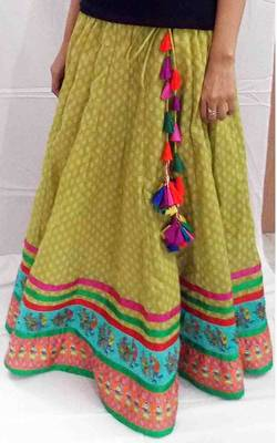 Olive green cotton skirt with folk doll and stylized bird borders
