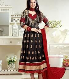 Buy Black & Red Color Georgette Salwar kameez semi-stitched-salwar-suit online