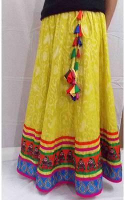 Lemon yellow cotton jacquard long skirt with doll and paisley borders