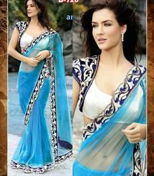 Buy blue designer saree with velvet jacket velvet-saree online