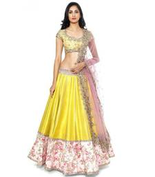 Buy Designer yellow color Embroidered lengha ghagra-choli online