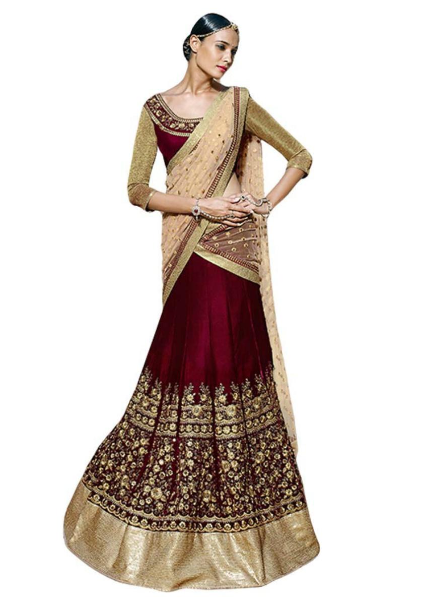 0430d80b14 maroon embroidered bangalore silk lehenga with choli - Kapadewala - 1699962