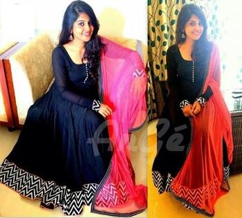 Black banglori silk  embroidered semi stitched salwar with dupatta