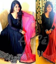 Buy Black banglori silk  embroidered semi stitched salwar with dupatta anarkali-salwar-kameez online