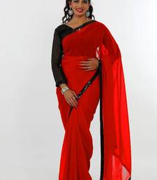 Buy Red faux georgette saree with unstitched blouse (pln1443) georgette-saree online