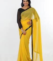 Buy Yellow faux georgette saree with unstitched blouse (pln1448) georgette-saree online