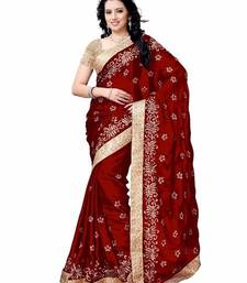 Buy Maroon embroidery satin saree with blouse satin-saree online