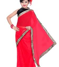 Buy red and black  net saree with blouse kids-saree online