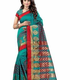 Buy Green plain cotton silk saree with blouse patola-sari online