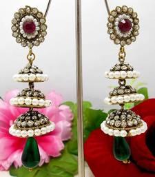 Buy Victorian Triple Step Tokri Earring Pink Green stud online