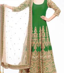 Buy Green embroidered art silk unstitched salwar with dupatta anarkali-salwar-kameez online