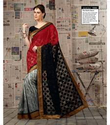 Buy Red & Black Color Styloce Designer Bhagalpuri Saree bhagalpuri-silk-saree online