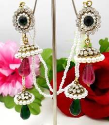 Buy Victorian Kashmiri Jhumki Green Pink stud online