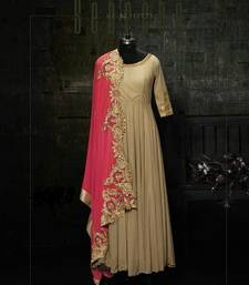 Buy Beige embroidered art silk semi stitched salwar with dupatta dress-material online