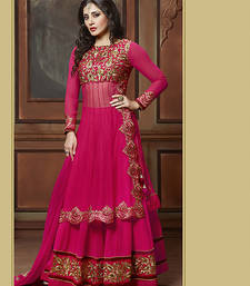 Buy Pink embroidered net semi stitched salwar with dupatta dress-material online