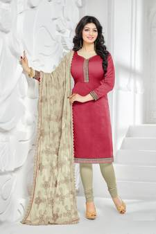 afcd3626bb Red embroidered Pure Chanderi unstitched Party Wear salwar suit with Heavy  dupatta